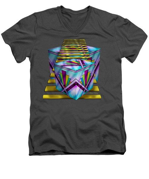 Art Deco Cubes - Transparent Men's V-Neck T-Shirt by Chuck Staley