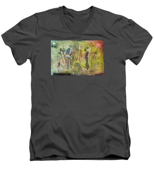 Art Deco Dancing Men's V-Neck T-Shirt by Bellesouth Studio