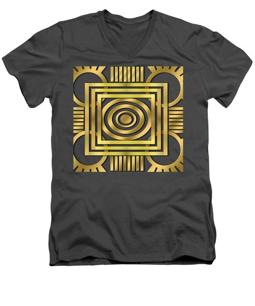 Men's V-Neck T-Shirt featuring the digital art Art Deco 20 by Chuck Staley