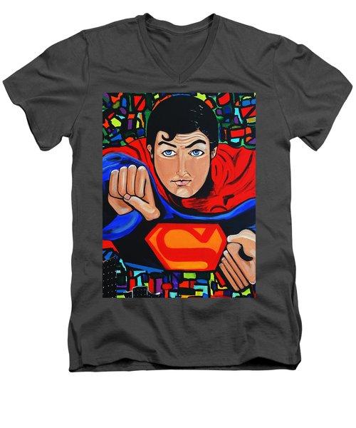 Art Deco  Superman Men's V-Neck T-Shirt by Nora Shepley