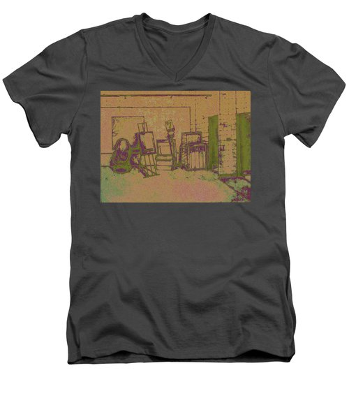 Art Intro Mixed Media Men's V-Neck T-Shirt