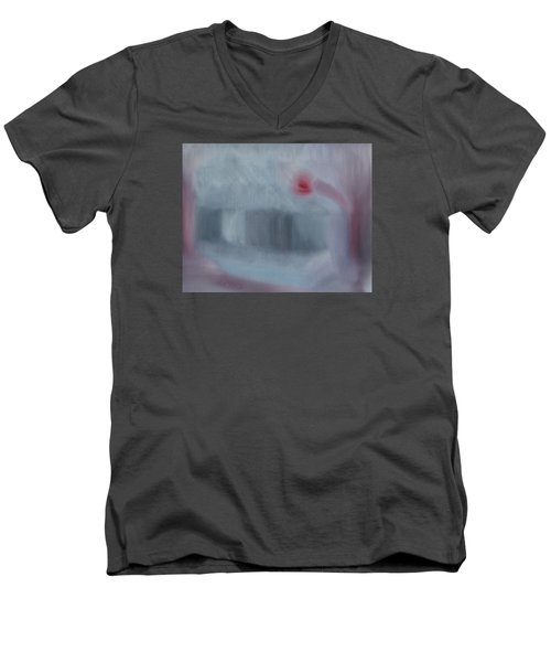Men's V-Neck T-Shirt featuring the painting Art Is To Serve The Public  by Min Zou