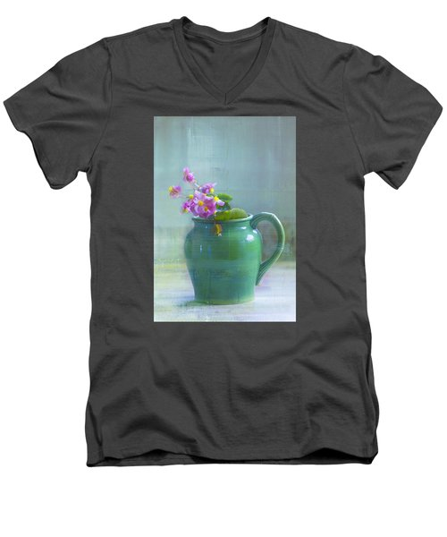 Men's V-Neck T-Shirt featuring the photograph Art Of Begonia by John Rivera