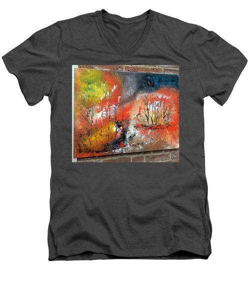 Men's V-Neck T-Shirt featuring the painting Art Work by Sheila Mcdonald