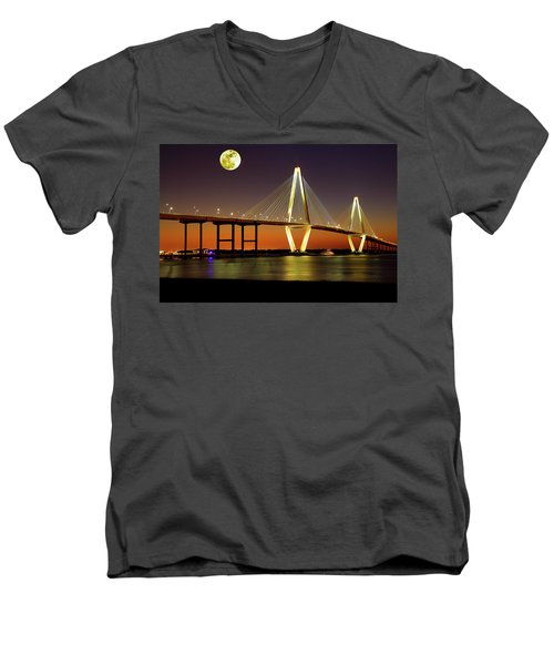 Arthur Ravenel Bridge At Night Men's V-Neck T-Shirt
