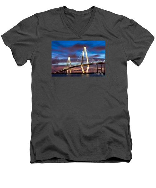 Arthur Ravenel Bridge At Night Men's V-Neck T-Shirt