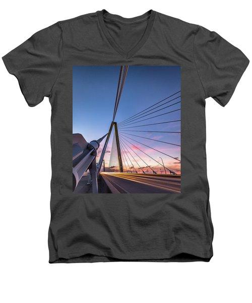 Men's V-Neck T-Shirt featuring the photograph Arthur Ravenel Jr. Bridge Light Trails by Donnie Whitaker