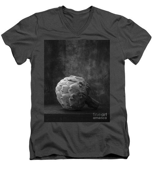 Artichoke Black And White Still Life Men's V-Neck T-Shirt by Edward Fielding