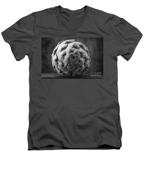 Artichoke Black And White Still Life Two Men's V-Neck T-Shirt by Edward Fielding