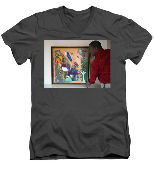 Artist Darrell Black With Dominions Creation Of A New Millennium Men's V-Neck T-Shirt