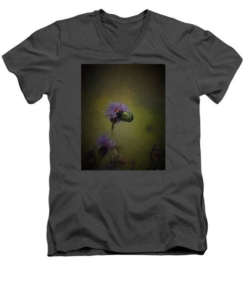 Men's V-Neck T-Shirt featuring the photograph Artistic Two Beetles On A Thistle Flower by Leif Sohlman