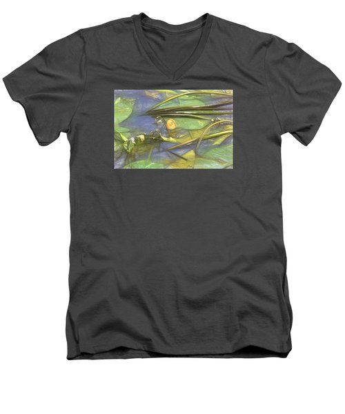 Men's V-Neck T-Shirt featuring the photograph Artistic Yellow Waterlilly 2015 by Leif Sohlman