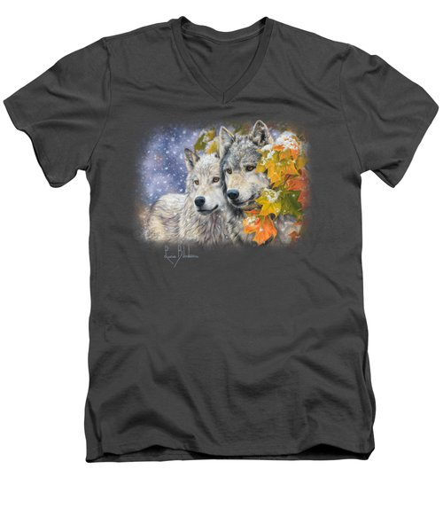 Early Snowfall Men's V-Neck T-Shirt by Lucie Bilodeau