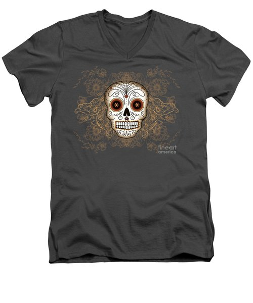 Vintage Sugar Skull Men's V-Neck T-Shirt by Tammy Wetzel