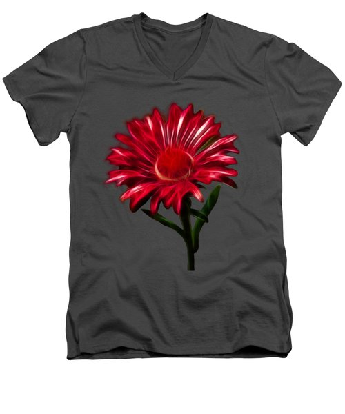 Red Daisy Men's V-Neck T-Shirt by Shane Bechler