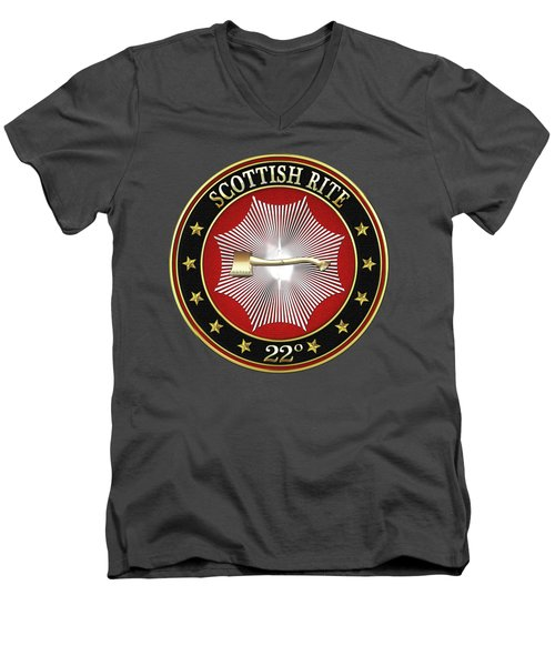 22nd Degree - Knight Of The Royal Axe Jewel On Red Leather Men's V-Neck T-Shirt by Serge Averbukh