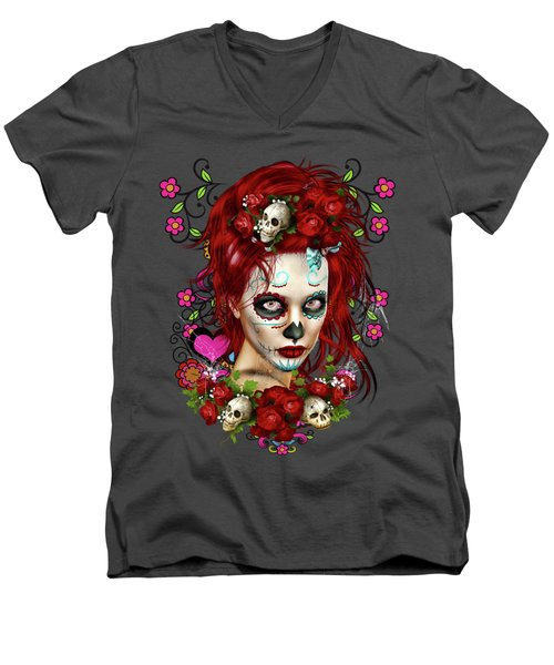 Men's V-Neck T-Shirt featuring the digital art Sugar Doll Red by Shanina Conway