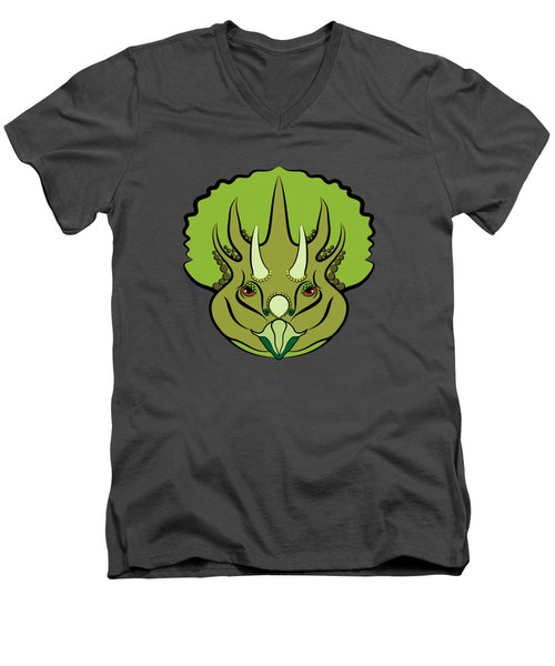 Triceratops Graphic Green Men's V-Neck T-Shirt