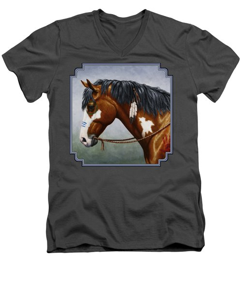 Bay Native American War Horse Men's V-Neck T-Shirt by Crista Forest