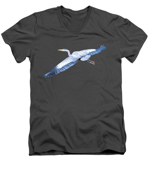 Great Blue Heron Flight Men's V-Neck T-Shirt