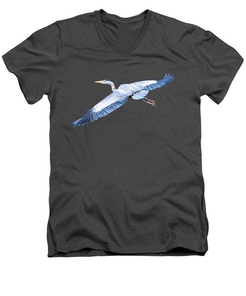 Great Blue Heron Flight Men's V-Neck T-Shirt