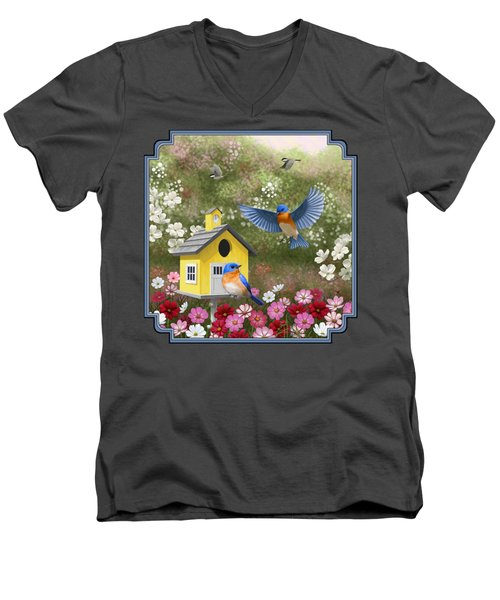 Bluebirds And Yellow Birdhouse Men's V-Neck T-Shirt by Crista Forest