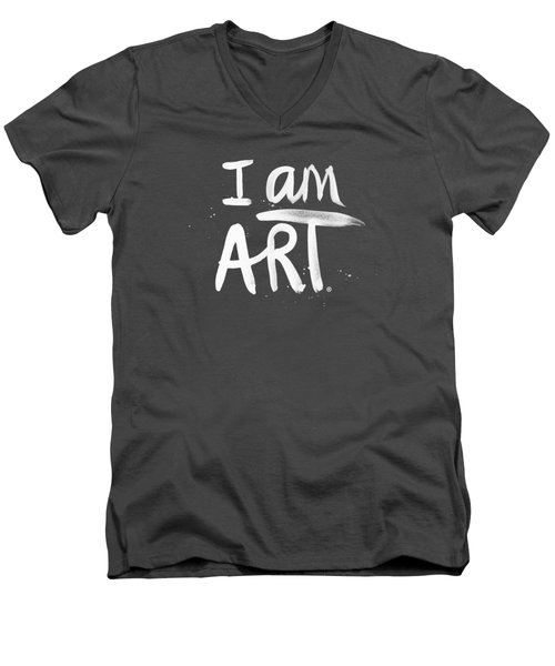Men's V-Neck T-Shirt featuring the mixed media I Am Art- Painted by Linda Woods