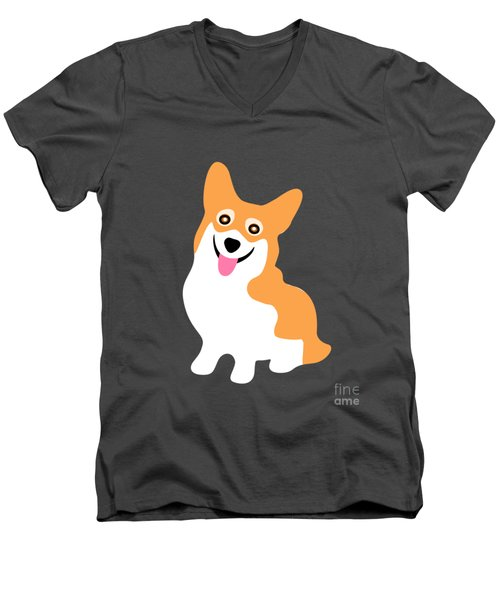 Smiling Corgi Pup Men's V-Neck T-Shirt