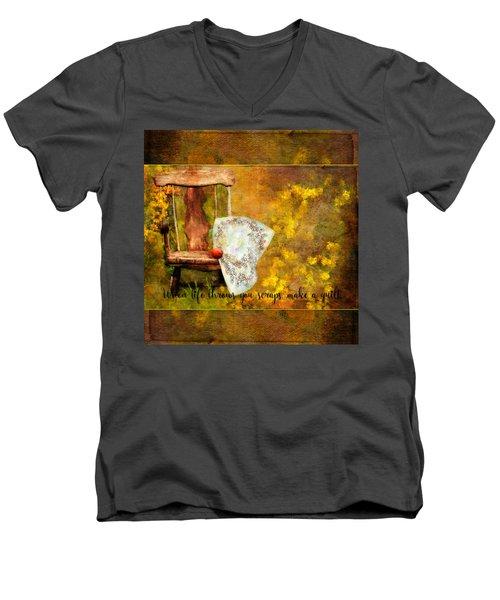 When Life Throws You Scraps, Make A Quilt Men's V-Neck T-Shirt