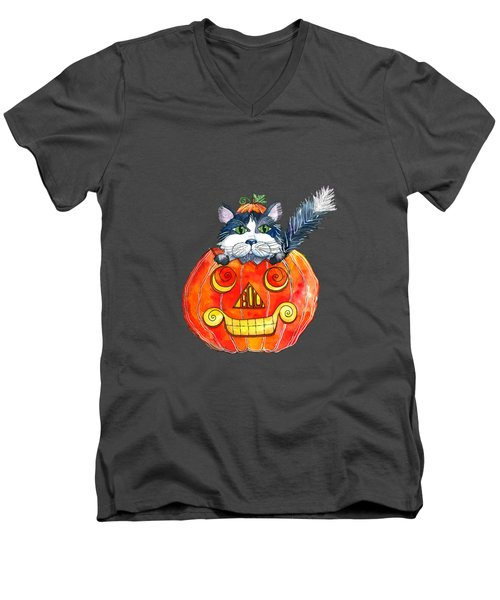 Boo Men's V-Neck T-Shirt by Shelley Wallace Ylst