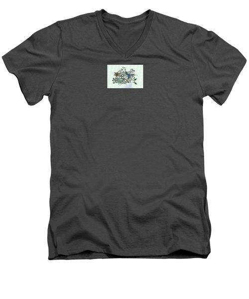 Pen And Ink Drawing Illustration Love  Men's V-Neck T-Shirt by Saribelle Rodriguez