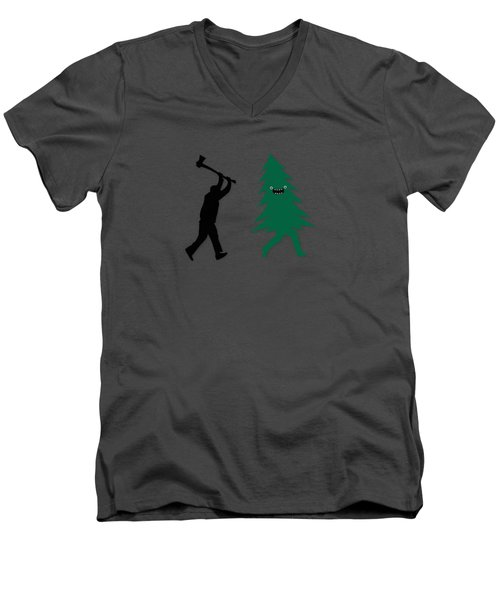 Funny Cartoon Christmas Tree Is Chased By Lumberjack Run Forrest Run Men's V-Neck T-Shirt by Philipp Rietz