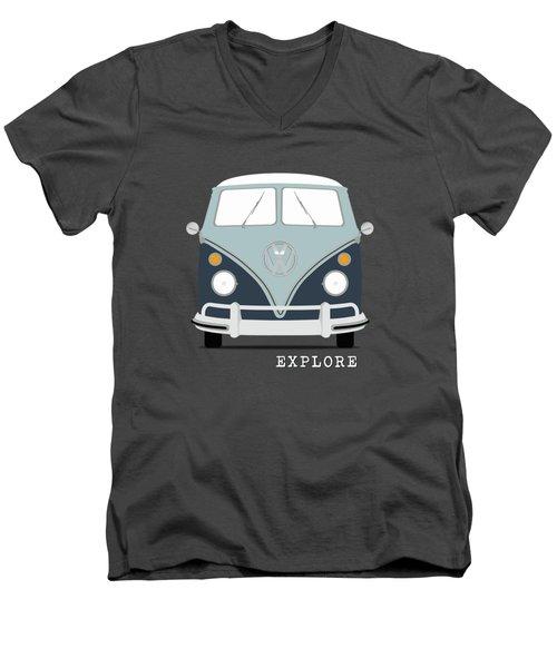 Vw Bus Blue Men's V-Neck T-Shirt by Mark Rogan