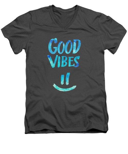 Good Vibes  Funny Smiley Statement Happy Face Blue Stars Edit Men's V-Neck T-Shirt