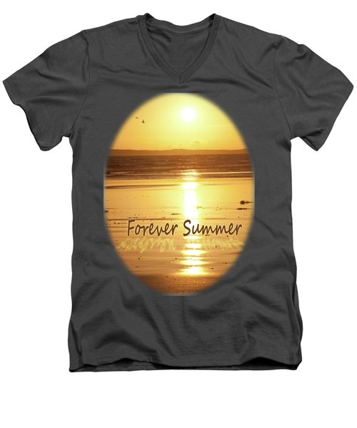 Men's V-Neck T-Shirt featuring the photograph Forever Summer 4 by Linda Lees