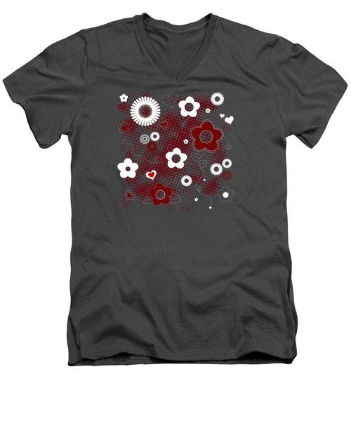 Floral And Hearts Valentine Pattern Men's V-Neck T-Shirt