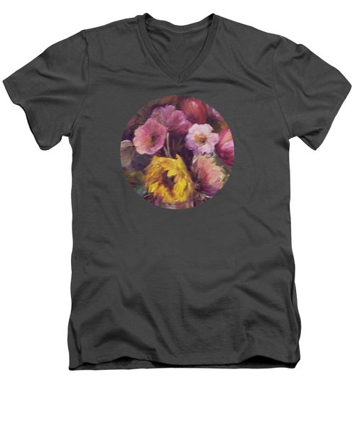 Abundance- Floral Painting Men's V-Neck T-Shirt by Mary Wolf