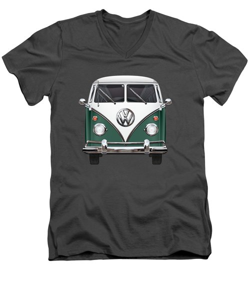 Volkswagen Type 2 - Green And White Volkswagen T 1 Samba Bus Over Red Canvas  Men's V-Neck T-Shirt