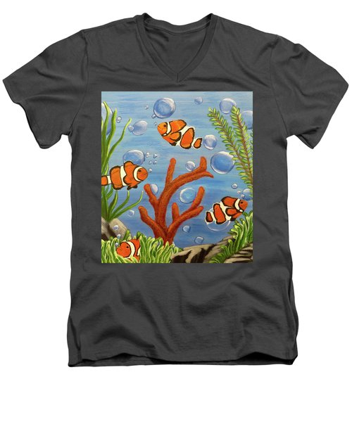 Men's V-Neck T-Shirt featuring the painting Clowning Around by Teresa Wing