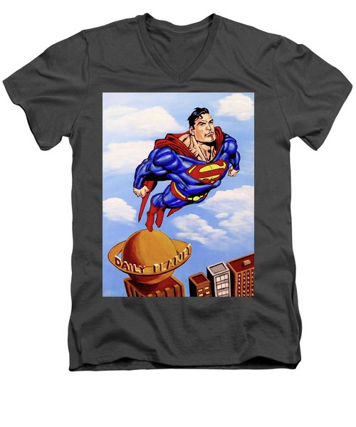 Men's V-Neck T-Shirt featuring the painting Superman by Teresa Wing
