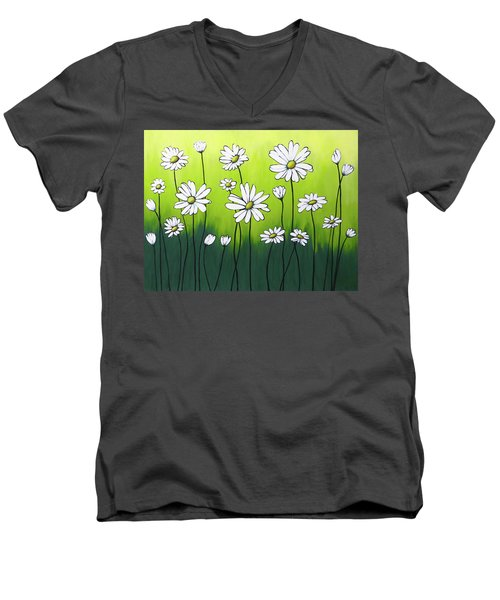 Men's V-Neck T-Shirt featuring the painting Daisy Crazy by Teresa Wing
