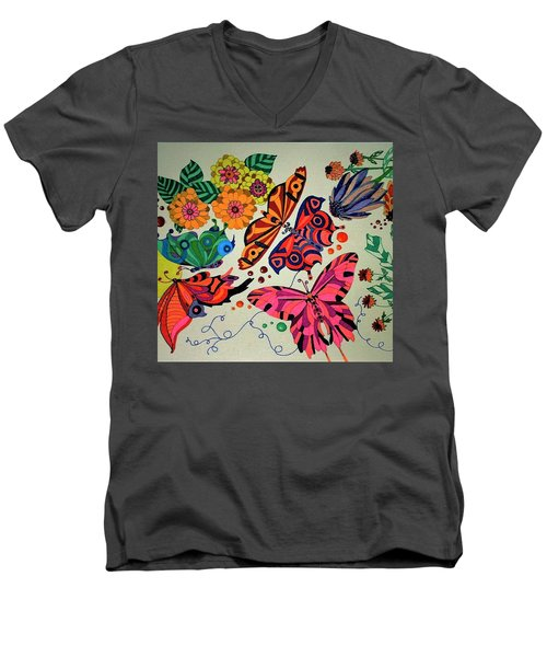 Men's V-Neck T-Shirt featuring the painting Eyes Of The Butterflies by Alison Caltrider