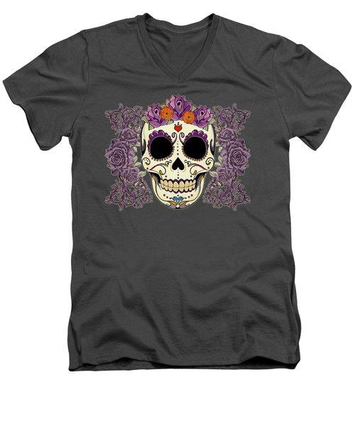 Vintage Sugar Skull And Roses Men's V-Neck T-Shirt
