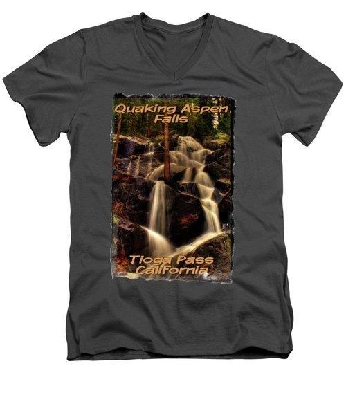 Quaking Aspen Falls Along Tioga Pass  Men's V-Neck T-Shirt by Roger Passman