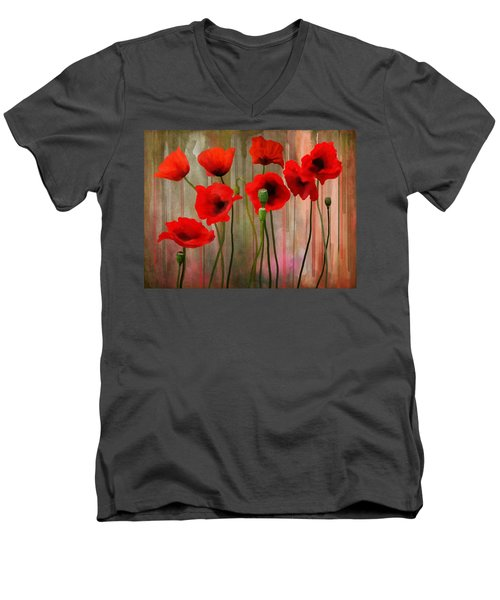 Men's V-Neck T-Shirt featuring the painting Poppies  by Ivana Westin