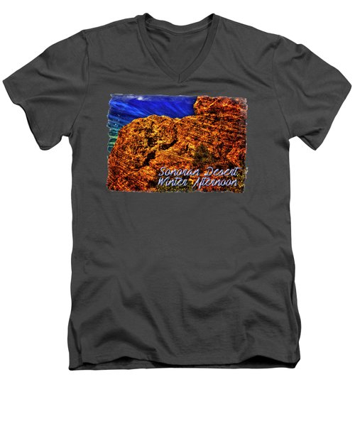 Navajo Sandstone And Cirrus Clouds Men's V-Neck T-Shirt