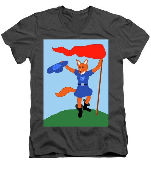 Men's V-Neck T-Shirt featuring the painting Reynard The Fairy Tale Fox by Marian Cates