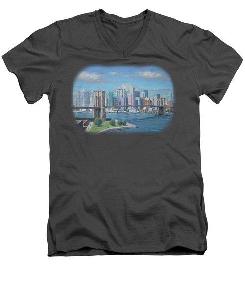New York Brooklyn Bridge Men's V-Neck T-Shirt by Renato Maltasic