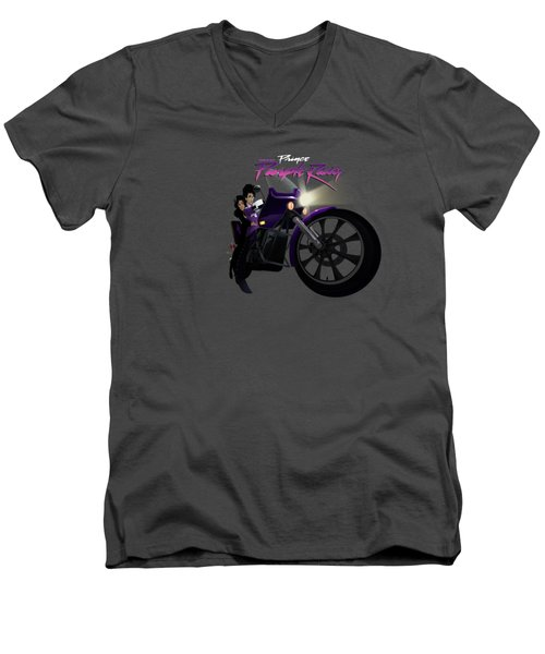 Men's V-Neck T-Shirt featuring the digital art I Grew Up With Purplerain by Nelson dedos Garcia