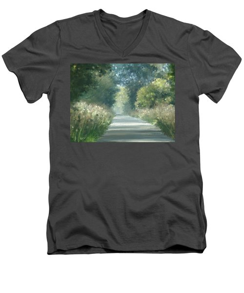 Men's V-Neck T-Shirt featuring the pastel The Road Back Home by Ivana Westin